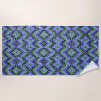 Blue Green Geometric Quilt Beach Towel