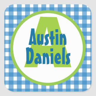 Blue Green Gingham Monogram Personalized Stickers