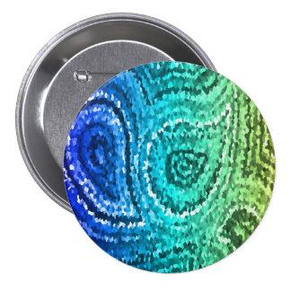 Blue Green Gold Boho Paisley Mosaic 7.5 Cm Round Badge