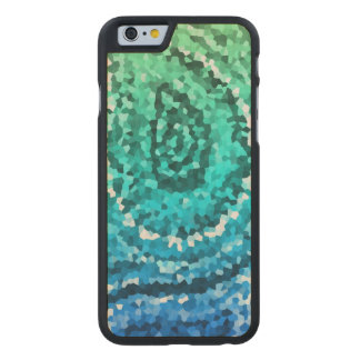 Blue Green Gold Boho Paisley Mosaic Carved Maple iPhone 6 Case