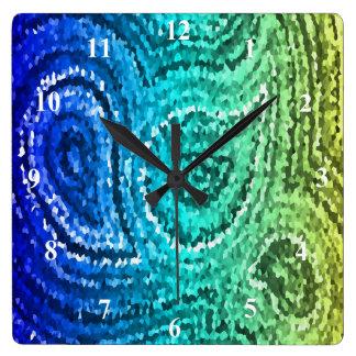 Blue Green Gold Boho Paisley Mosaic Square Wall Clock