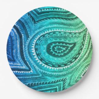 Blue Green Gold Boho Paisley Pattern Paper Plate