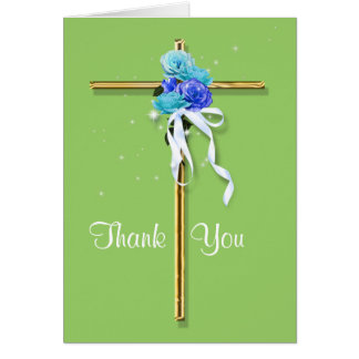"""Blue green gold funeral """"thank you"""" greeting card"""