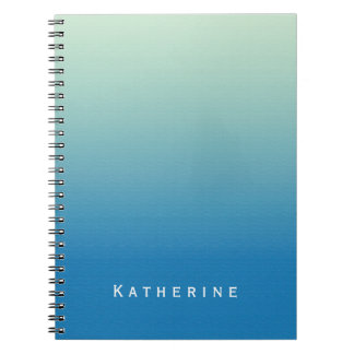 Blue Green Gradient Ombre Texture Custom Name Note Book