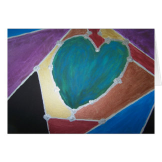 Blue Green Heart With Mosaic Theme Card