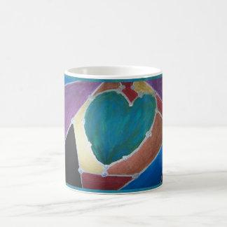 Blue Green Heart With Mosaic Theme Morphing Mug