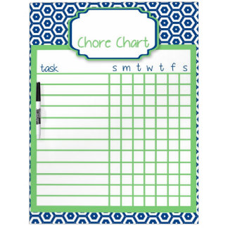 Blue & Green Honeycomb Chore Chart Dry Erase Board