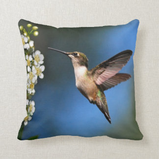 Blue Green Hummingbird Throw Pillow