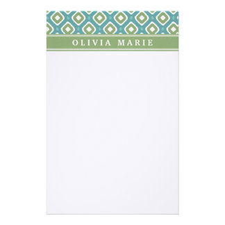 Blue Green Ikat Mod Pattern with Name Personalized Stationery