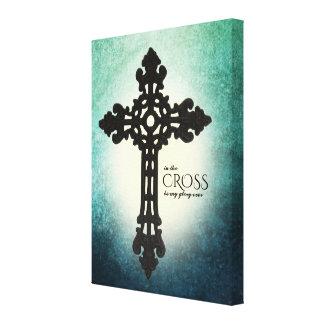Blue Green In the Cross Christian Faith Canvas Print