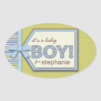 Blue Green It's a Boy Tag Bow & Ribbon Baby Favor Oval Sticker