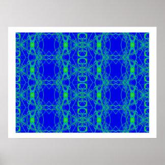 blue green lace print