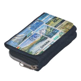 Blue Green Landscape Wallet, Postage Stamp Purse Wallets