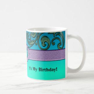 Blue Green Lavender Delicate Scrolls Coffee Mug