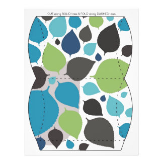 Blue & Green leaves Pillow Puff Box Template 21.5 Cm X 28 Cm Flyer