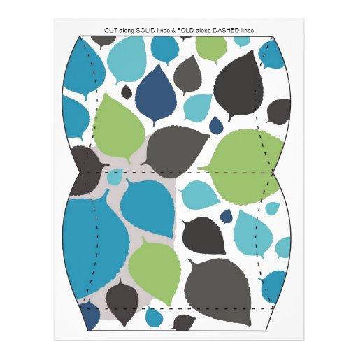 Blue & Green leaves Pillow Puff Box Template Custom Flyer