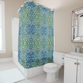 Blue Green Leopard Cat Animal Oil Paint Effect Shower Curtain