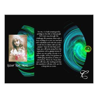 BLUE GREEN LIGHT VORTEX MONOGRAM Tri Fold 21.5 Cm X 28 Cm Flyer