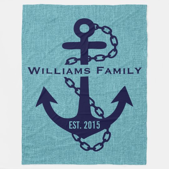 Blue-green Linen With Rustic Blue Wedding Anchor Fleece