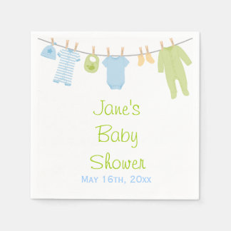 Blue & Green Little Clothes Baby Shower Napkins Paper Napkin