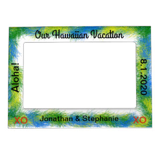 Blue Green Luau Vacation Magnetic Photo Frame