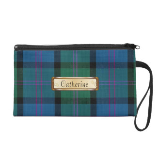 Blue & Green MacThomas Clan Tartan Plaid Wristlet