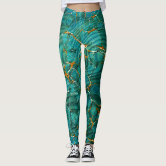 Blue Green Marble Abstract Leggings | Antique Book