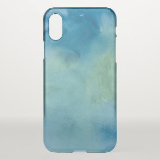 Blue & Green Marble Watercolour iPhone X Case