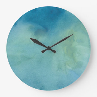 Blue & Green Marble Watercolour Large Clock