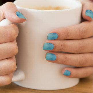 Blue & Green Marble Watercolour Minx Nail Art