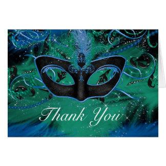 Blue Green Mask Masquerade Thank You Card
