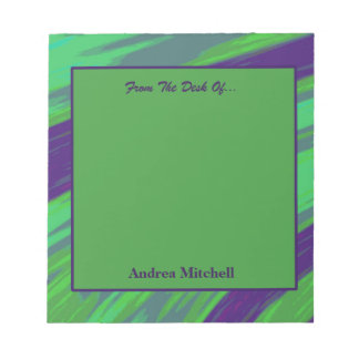 Blue Green Modern Swish Abstract Notepad