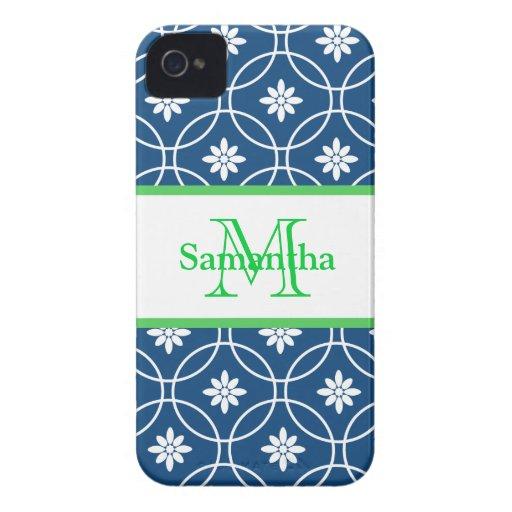 Blue Green Monogram Geometric Pattern iPhone 4 Covers