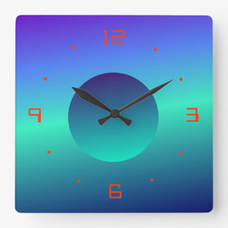 Blue Green Moon Illuminated Design>Wall Clock