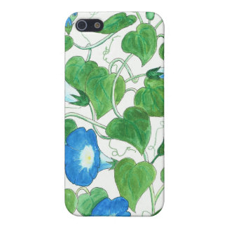 Blue, Green Morning Glory Pattern on White iPhone 5 Cover