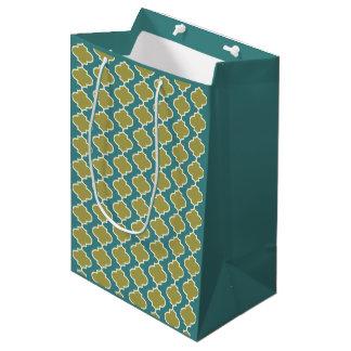 Blue & Green Moroccan Quatrefoil Pattern Gift Bag