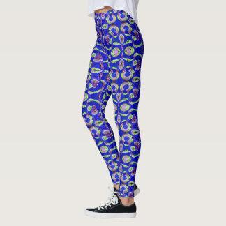 Blue Green Mosaic Pattern Design Leggings
