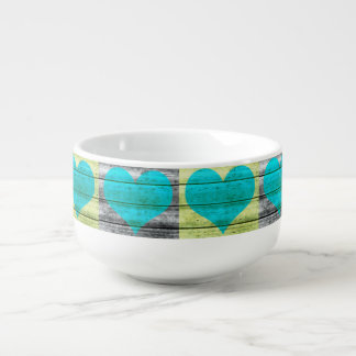 Blue/Green Multicolor Planked Hearts Soup Bowl