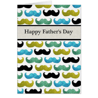 Blue green mustaches Happy Father s Day card