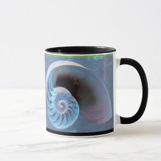 Blue-Green Nautilus Spiral Mug