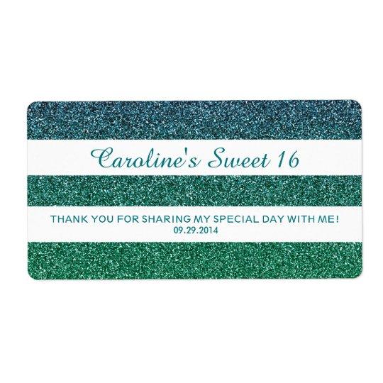 Blue Green Ombre Glitter Sweet 16 Water Bottle Shipping Label