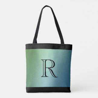Blue Green Ombre Gradient with Monogram Tote Bag