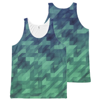 Blue & Green Ombre Watercolor Geometric All-Over Print Tank Top