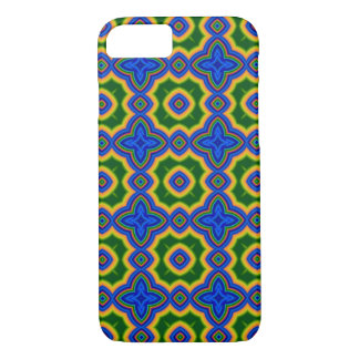 Blue, green, orange abstract Moroccan quatrefoil iPhone 7 Case