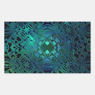 Blue Green Ornate Design Rectangular Sticker