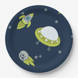 Blue Green Outer Space Kids Paper Plate