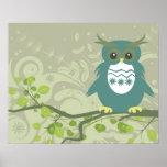 Blue Green Owl on Tree Limb Posters