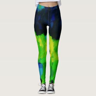 Blue Green Paint Splatter Leggings