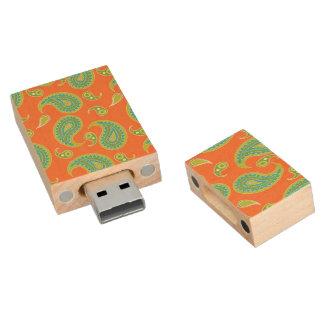 Blue-Green Paisley on Bright Orange Wood USB 2.0 Flash Drive