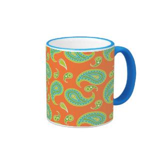 Blue-Green Paisley on Bright Orange Mugs